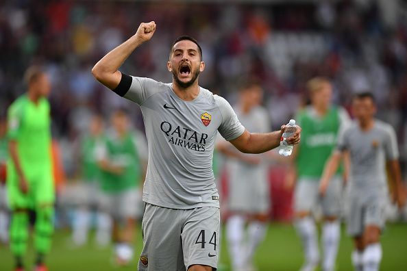 Kostas manolas Football player with water bottel in his hand
