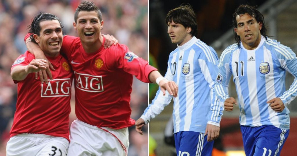 Tevez with Ronaldo and Messi