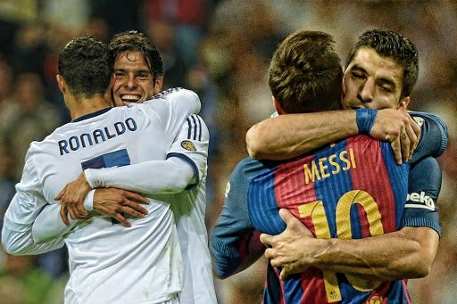 Messi and Ronaldo with teammates