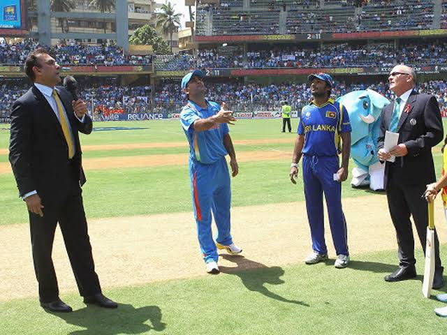 World Cup toss between India and Sri Lanka.