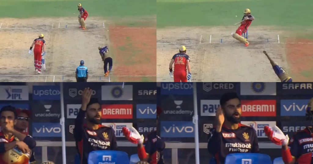 Virat Kohli gets animated by AB De Villiers amazing shot.