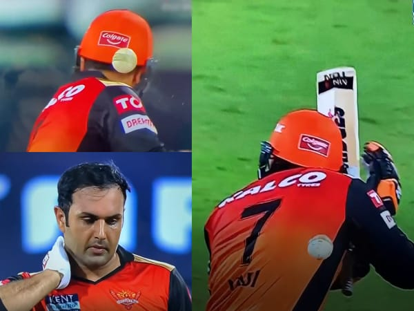 Mohammad Nabi gets hit on the neck as Prasidh bowls a bouncer