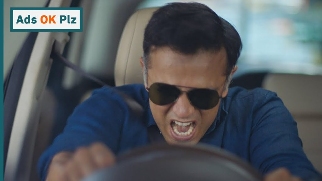 Rahul Dravid bursts out in a traffic jam in an ad shoot.