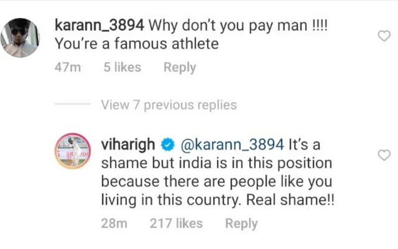 Vihari silences Instagram user for his 'Why don't you pay man' remark