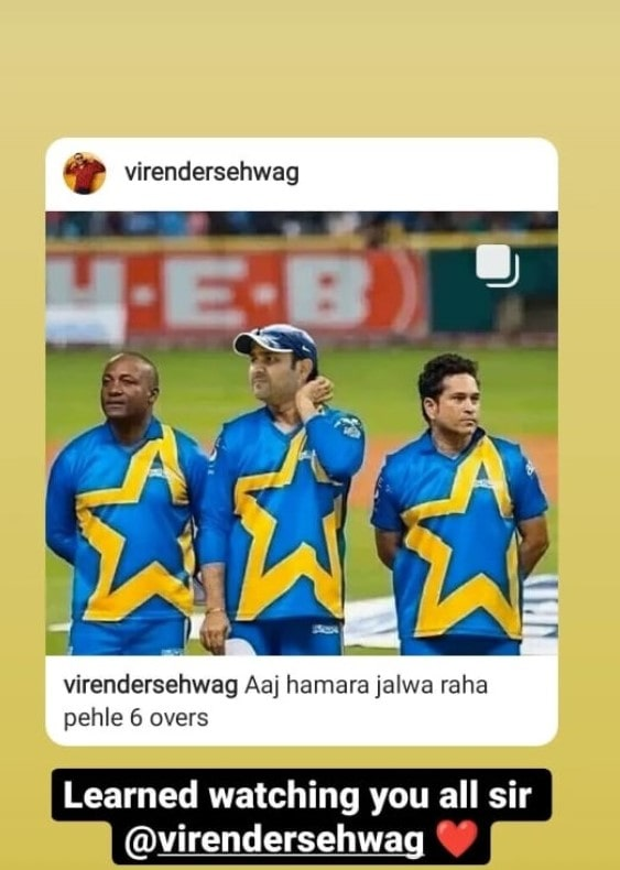 Prithvi Shaw responds to Virender Sehwag Instagram story