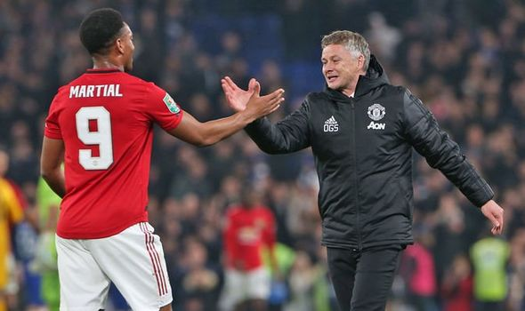 Martial and Ole Gunnar in Manchester United