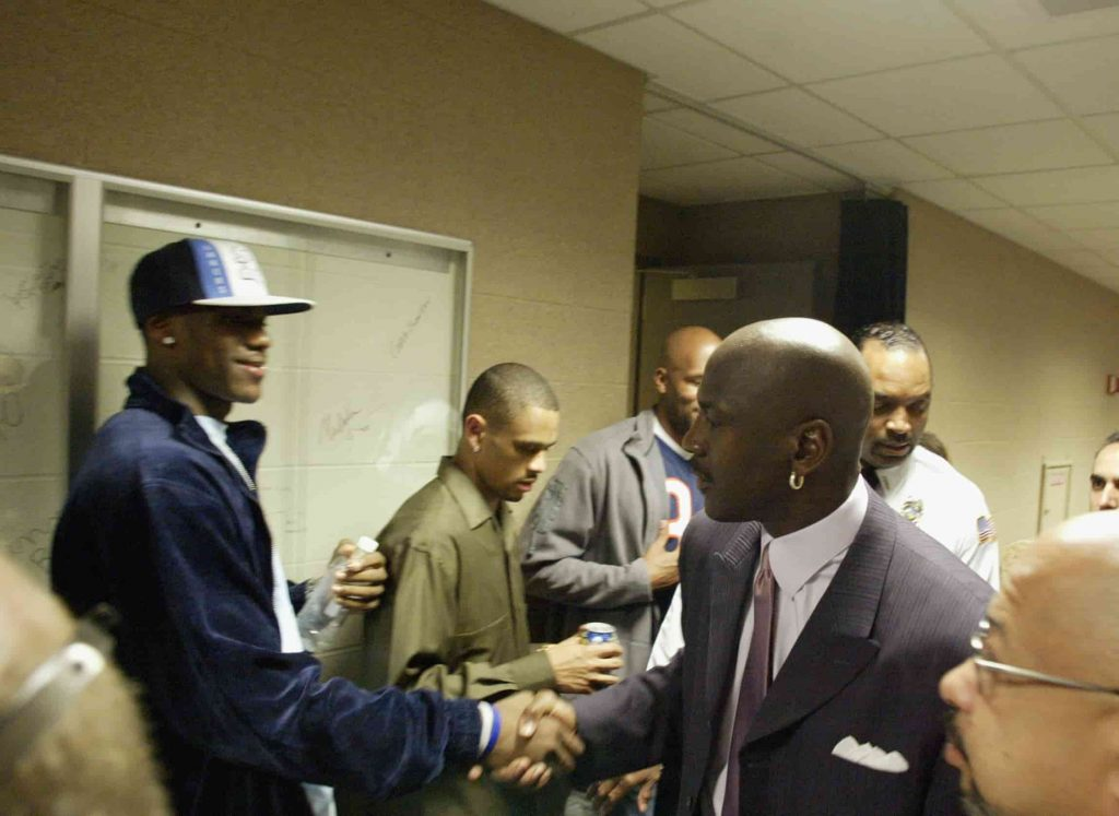 Michael Jordan and Lebron cross paths for the first time in 2003.