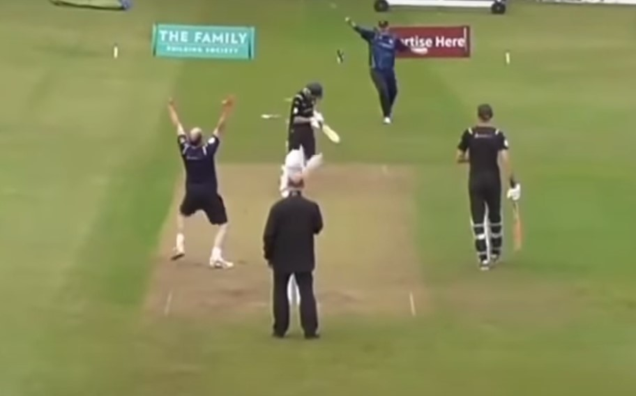 Video: Dad bowls his son out and pulls off best celebration ever in UK charity match